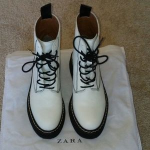 ZARA FLAT LEATHER ANKLE BOOTS with FINE LUG SOLE
